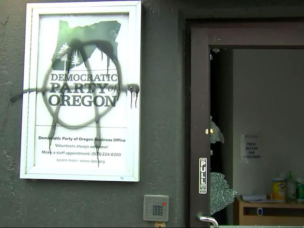 Protesters gather, damage Democratic headquarters in Oregon