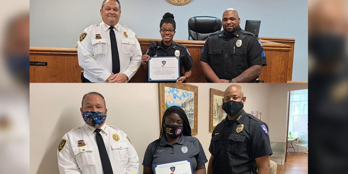 Yazoo City PD recognizes 2 who helped save life after train crash