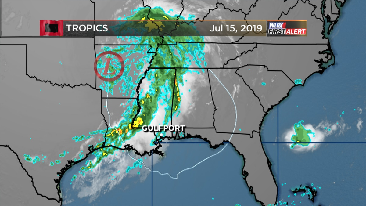 Rain bands linger for us as Barry slowly pulls away from the coast