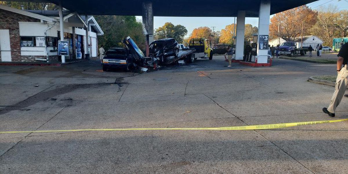 Man who burned to death after crashing carjacked car into gas station pump, shooting in air identified