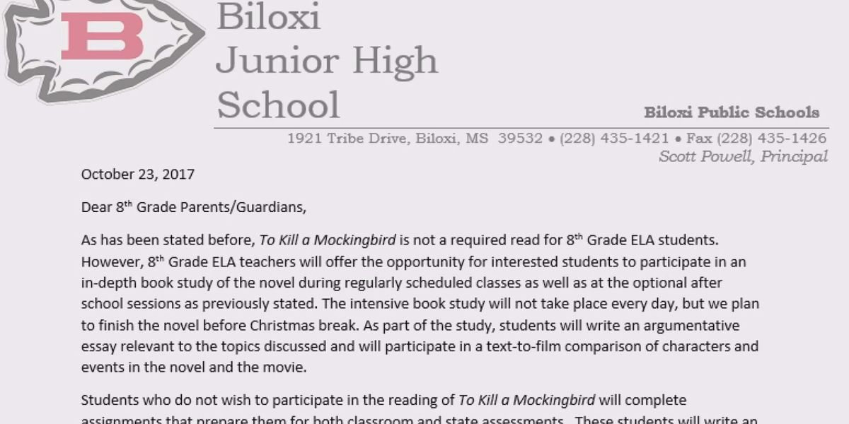 Biloxi School Parental Consent Required To Read To Kill A