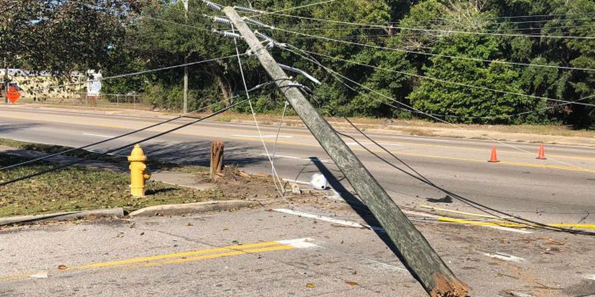 Downed power pole closes Pass Road near Eisenhower