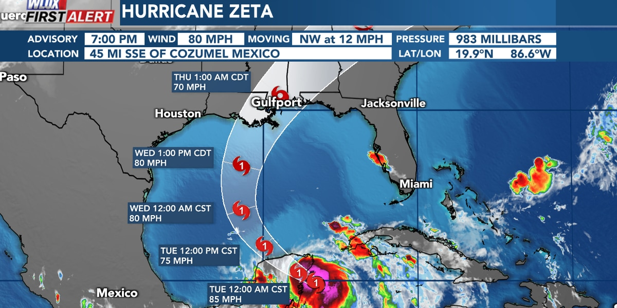 Zeta now a category one hurricane. Hurricane and Storm Surge Watches in effect for South Mississippi.