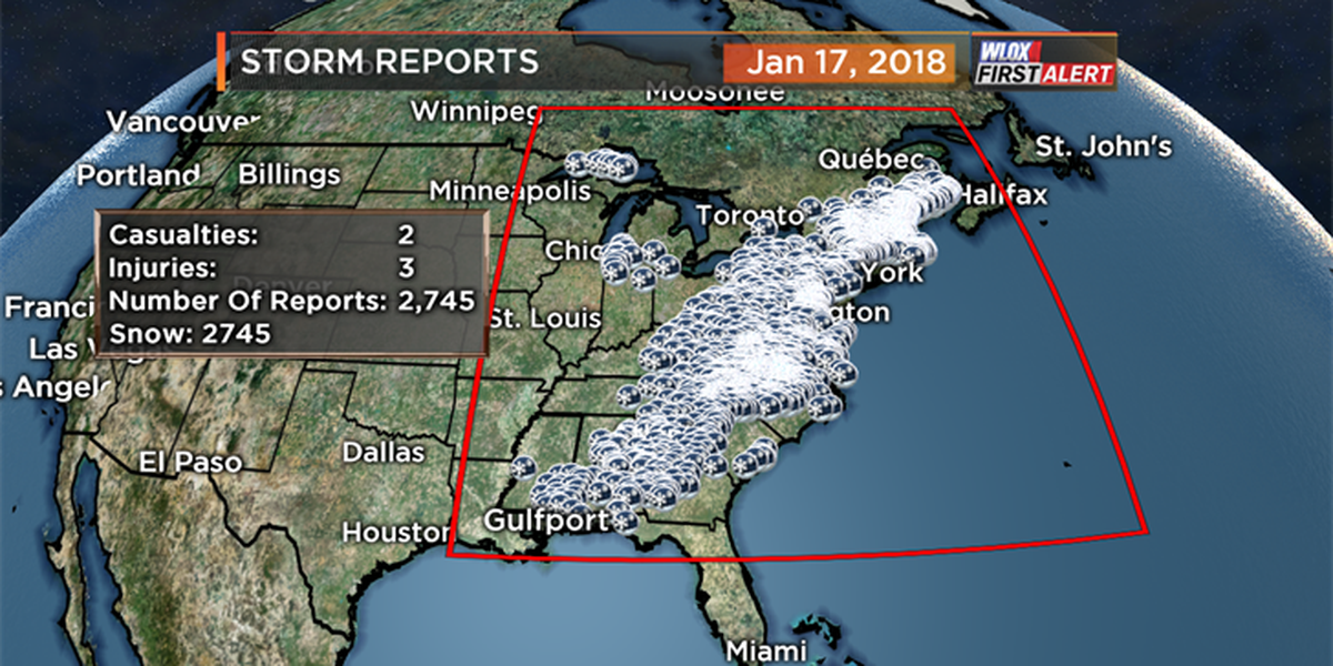 Snow and ice totals from January 16-17
