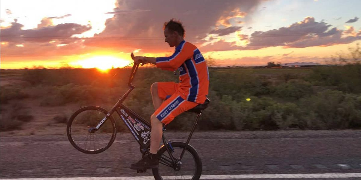 Cyclist passes through South Mississippi on one wheel to break world record