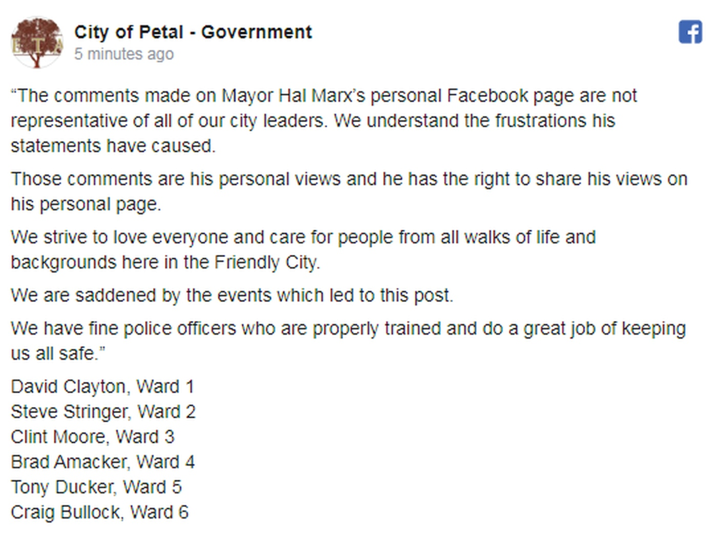 The City of Petal addressed the comments Wednesday night.