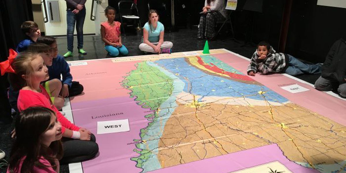Giant Traveling Map allows LB students to walk across Asia