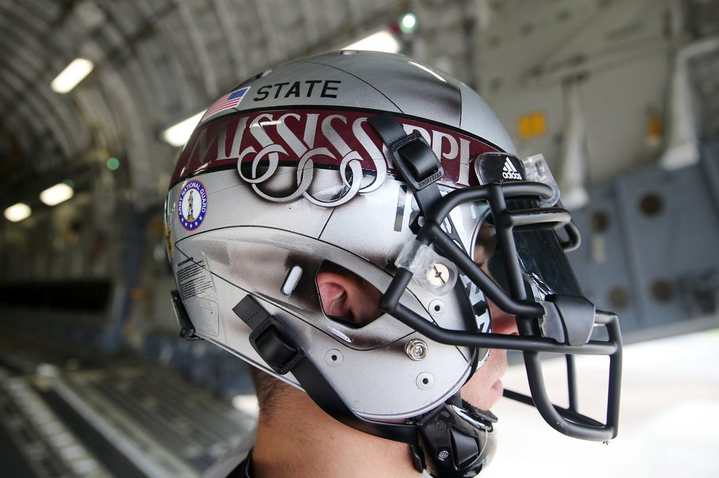 The special helmet as part of Mississippi State's 'Statesman' uniforms Source: Mississippi State Athletics
