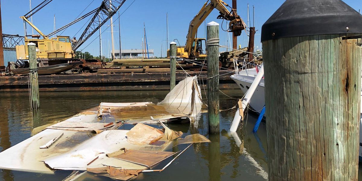 Crews remove debris from Long Beach Harbor after severe weather damage