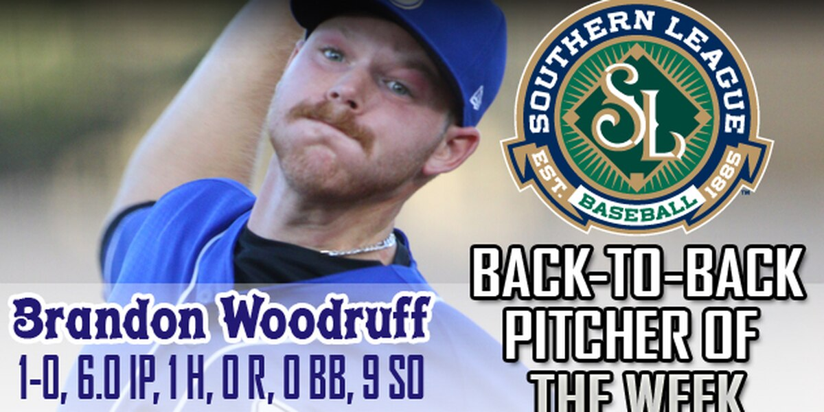 Shuckers pitcher Brandon Woodruff named Southern League Pitcher of the Week..Again