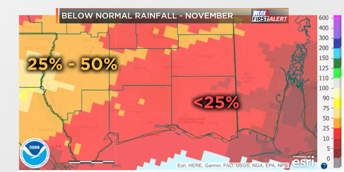 Dry November causing Mississippi drought