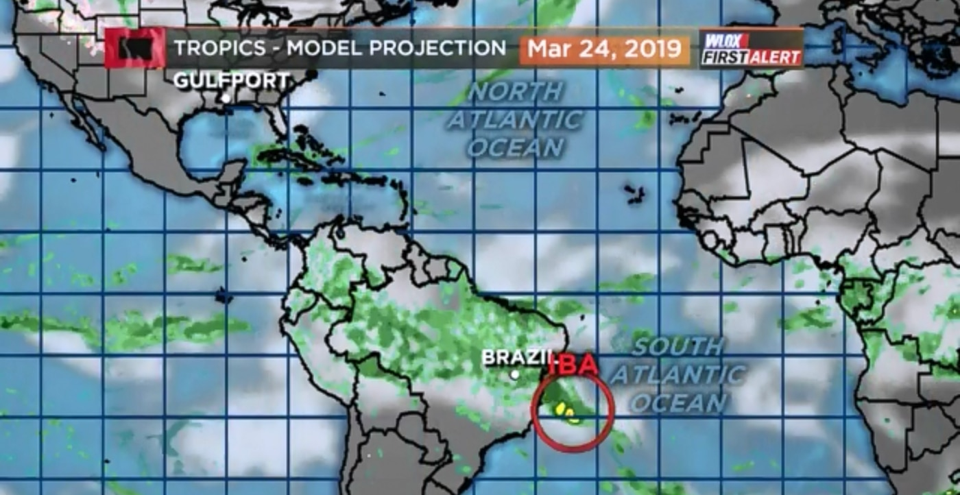 Tropical Storm Iba forms near Brazil in late March