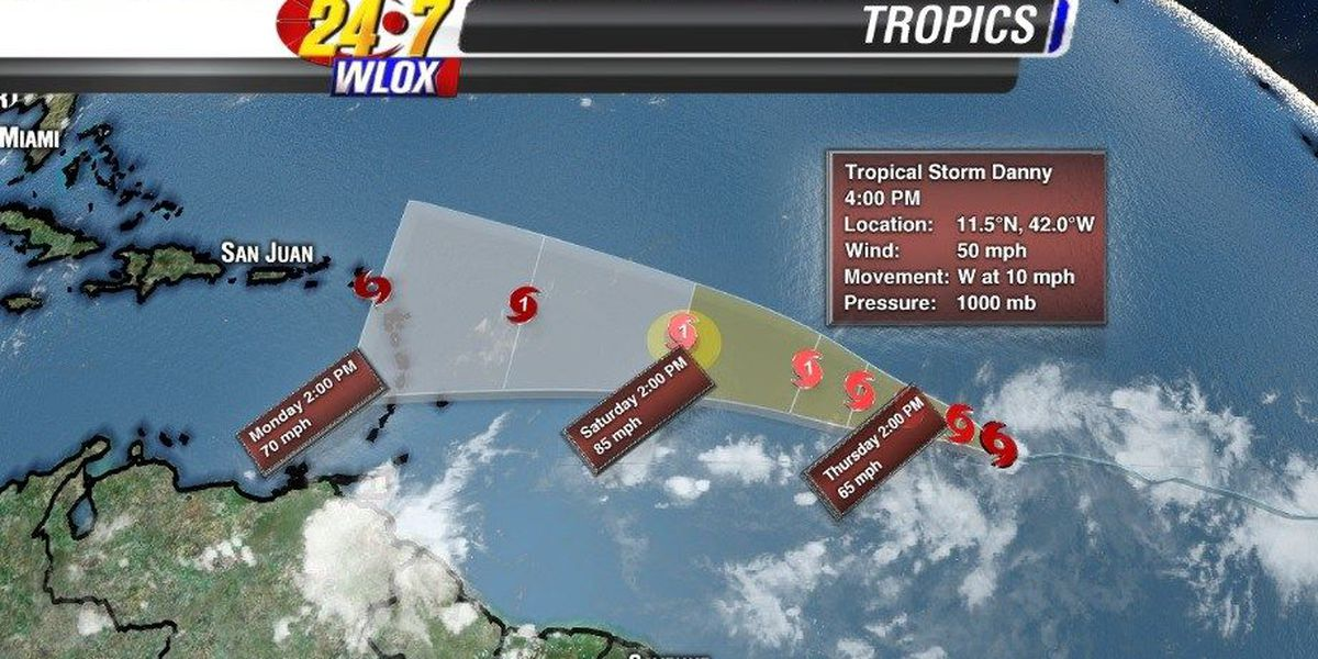 TS Danny may spin into a hurricane by Friday