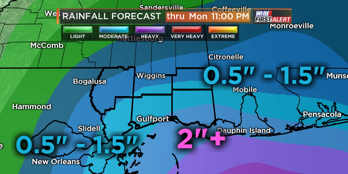 Soaking rains and possible flooding in South MS today