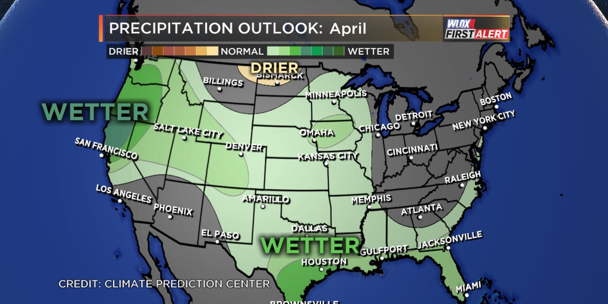 Warm and wet April ahead based on latest outlook