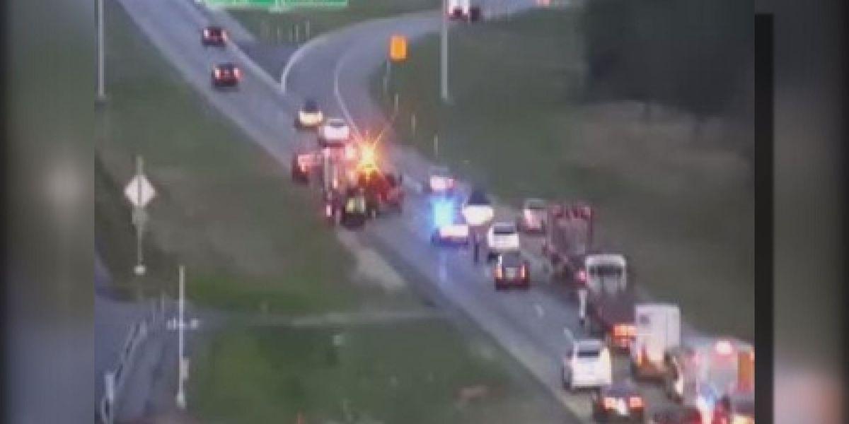 Motorcycle, 18-wheeler involved in I-10 crash