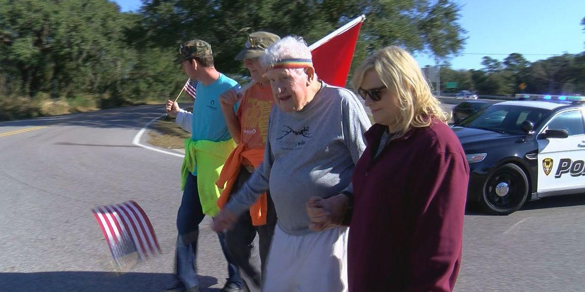 96-year-old veteran makes strides across coast