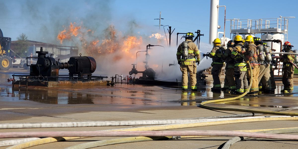Firefighters learn to battle burning cars and oil fires at Chevron Refinery