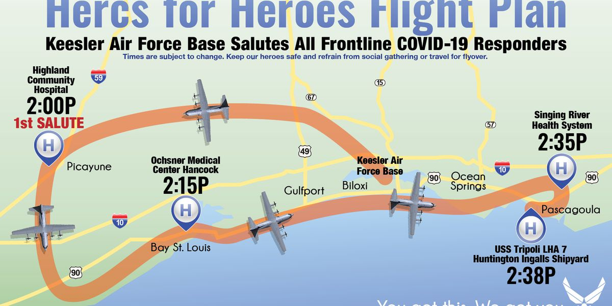 403rd Wing flyovers honor healthcare workers in Picayune, Bay St. Louis, Pascagoula