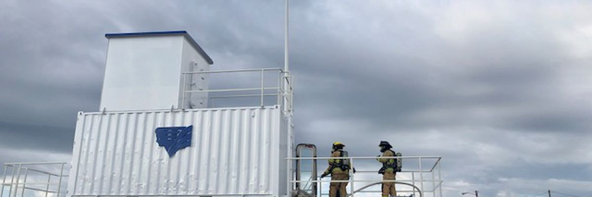 Coast firefighters receive training in fighting ship fires