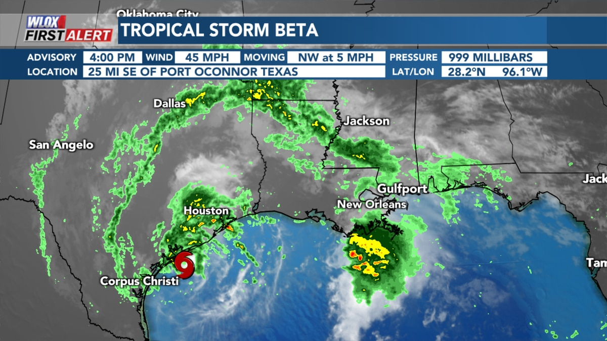 Wet pattern and coastal flooding thanks to Tropical Storm Beta