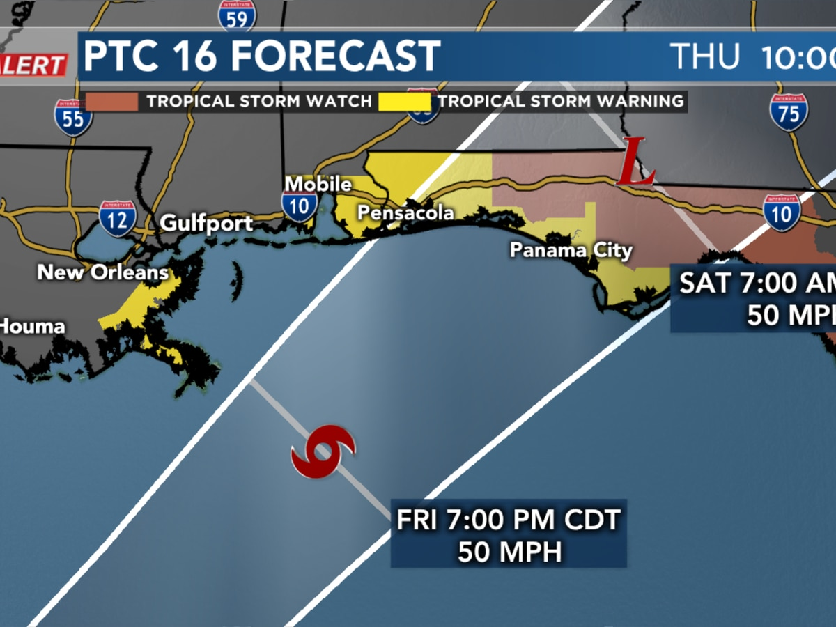 Tropical storm warnings in effect just to the west and east of Mississippi