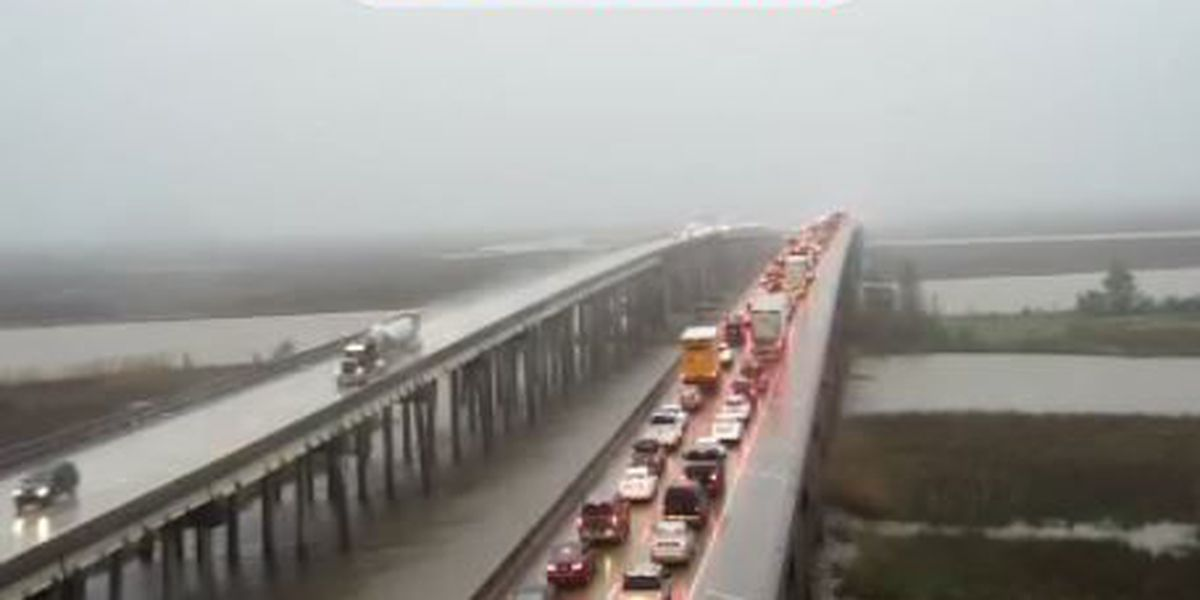 Slow moving traffic on I-10 Pascagoula River bridge