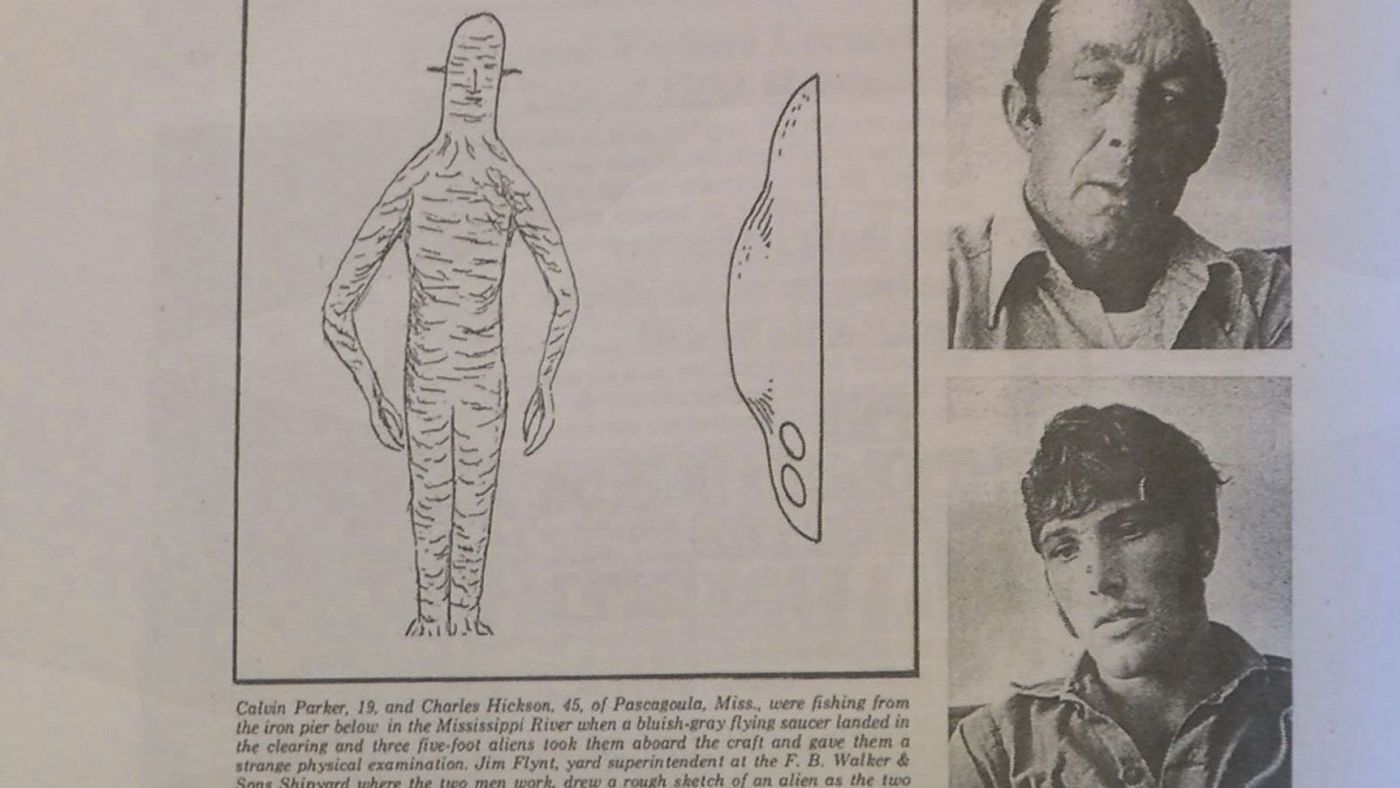 This is an illustration of what Calvin Parker and Charles Hickson described they saw the night of the alleged alien abduction.