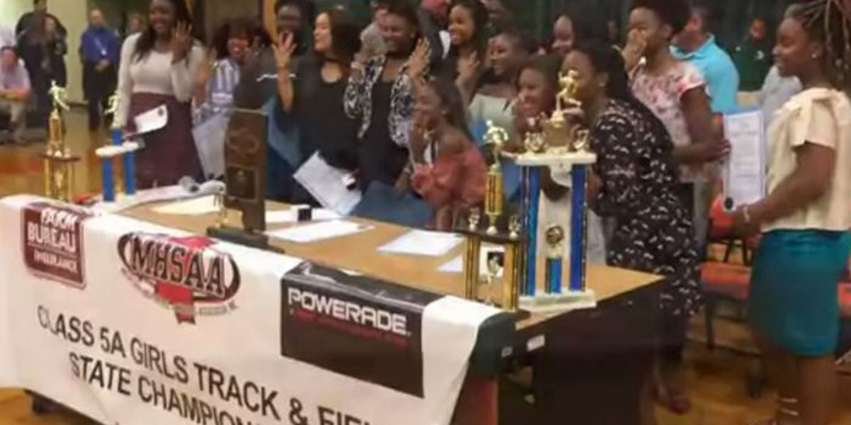West Harrison ladies track team shows off championship rings