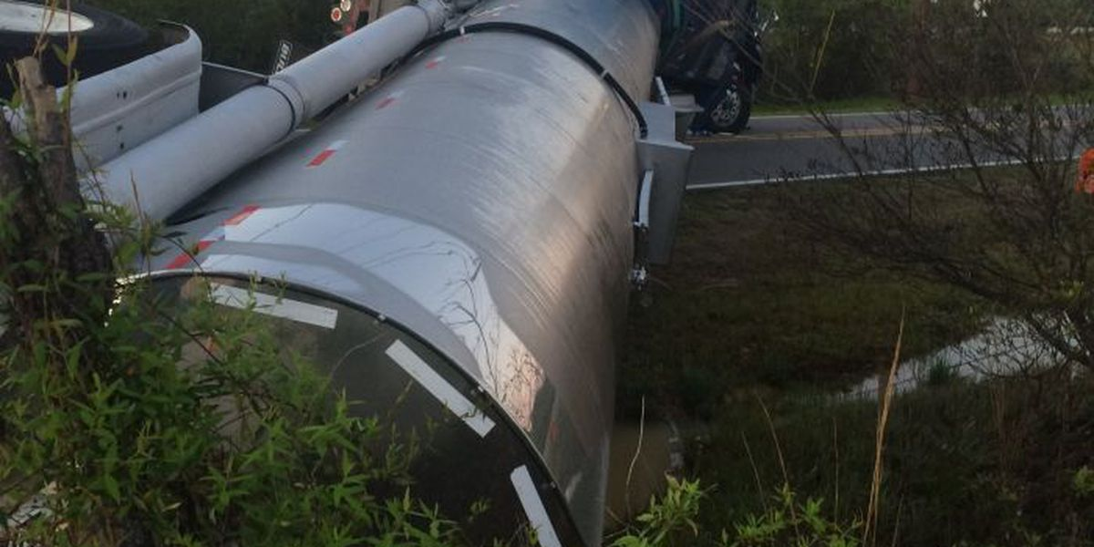 Chemical tanker overturned in Picayune