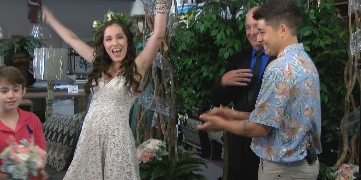 Local furniture store celebrity gets married during commercial shoot