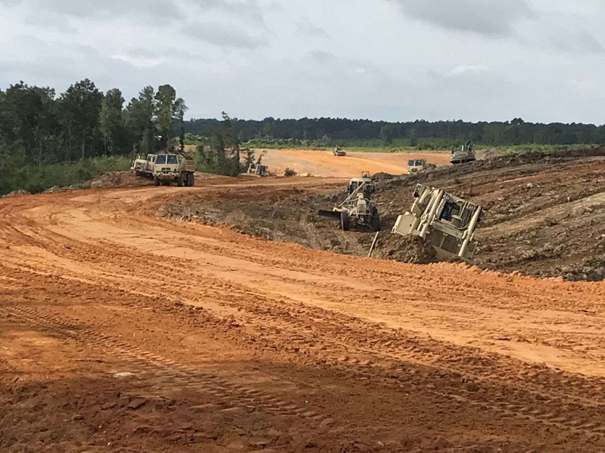 National Guard engineers extending airport road