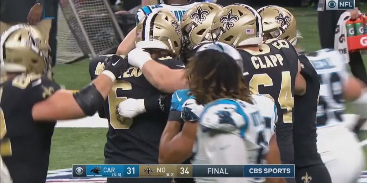 Saints Beat Panthers with walk-off FG by Wil Lutz, 34-31