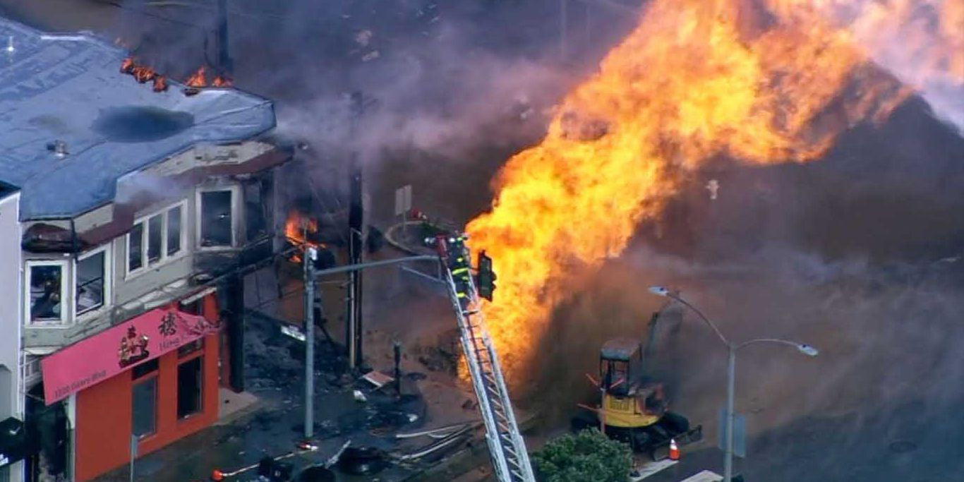 San Francisco gas explosion shoots fire that burns buildings
