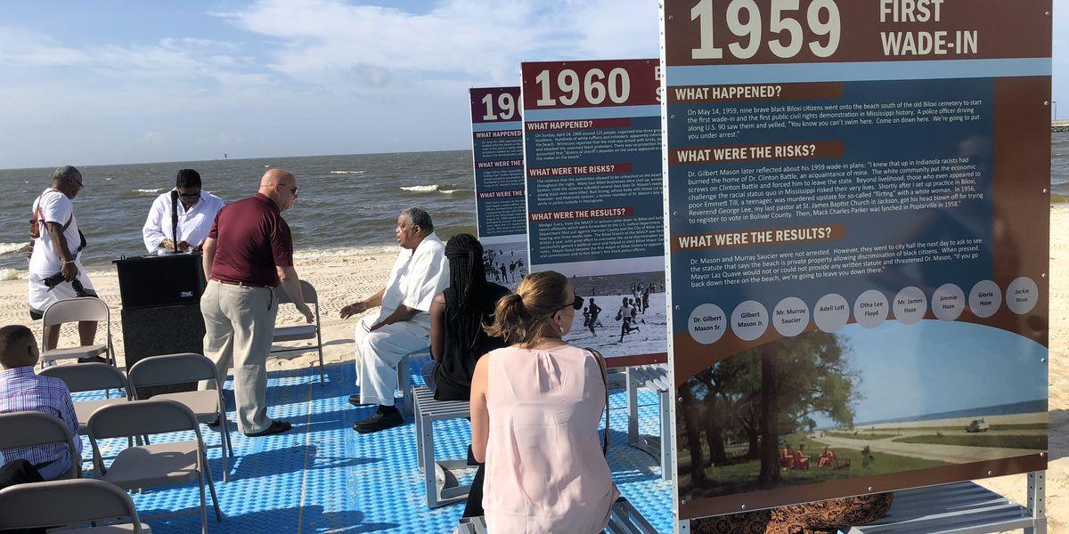 Beach exhibit dedicated to Biloxi wade-ins