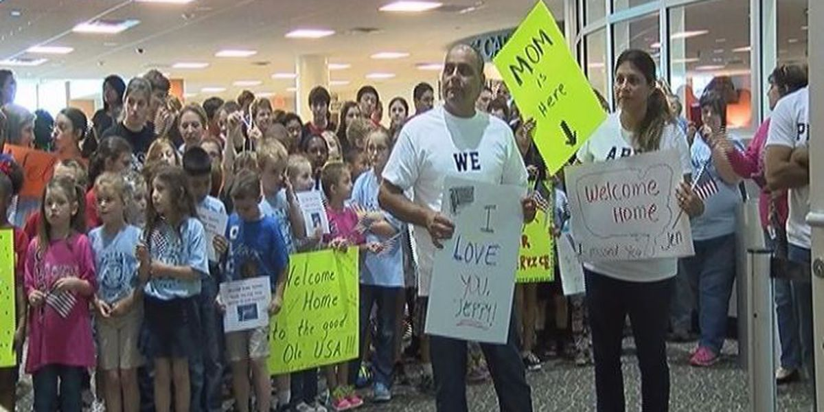 Family and friends welcome home military troops