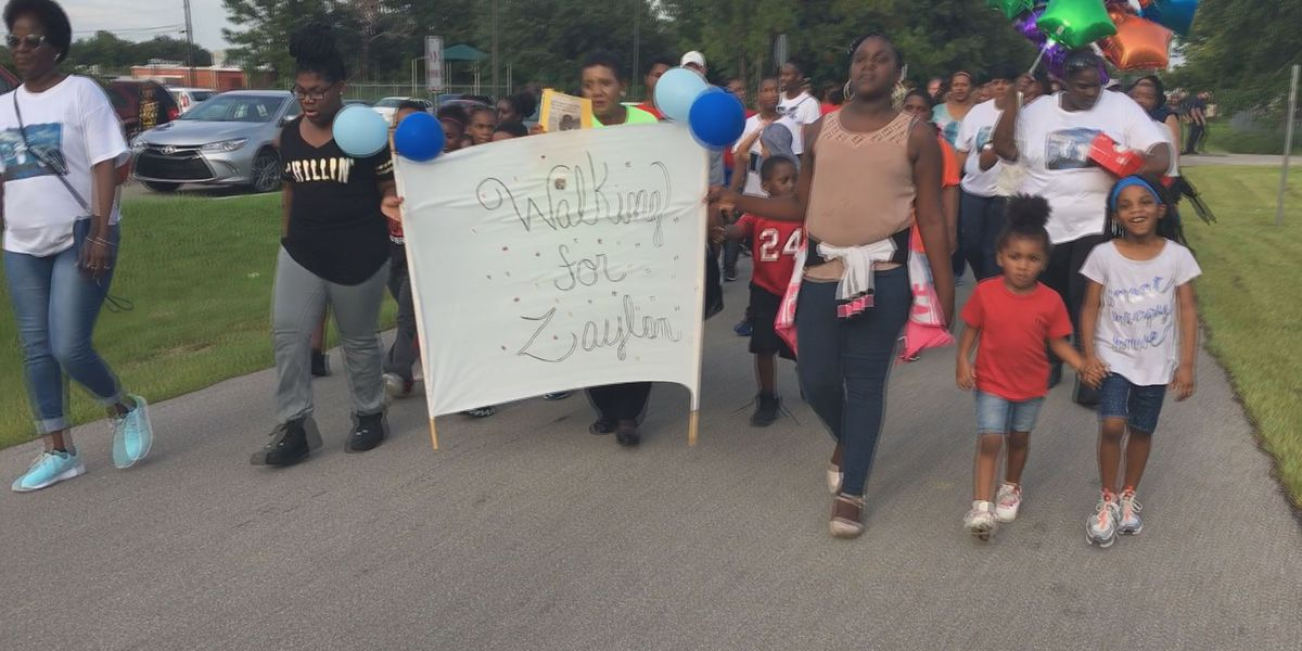 Crowd gathers for walk in honor of Zaylan Sparkman
