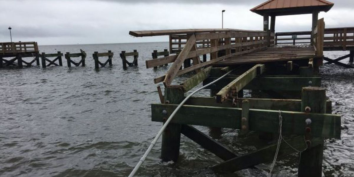 Pier and marina damaged at Gulfport Harbor