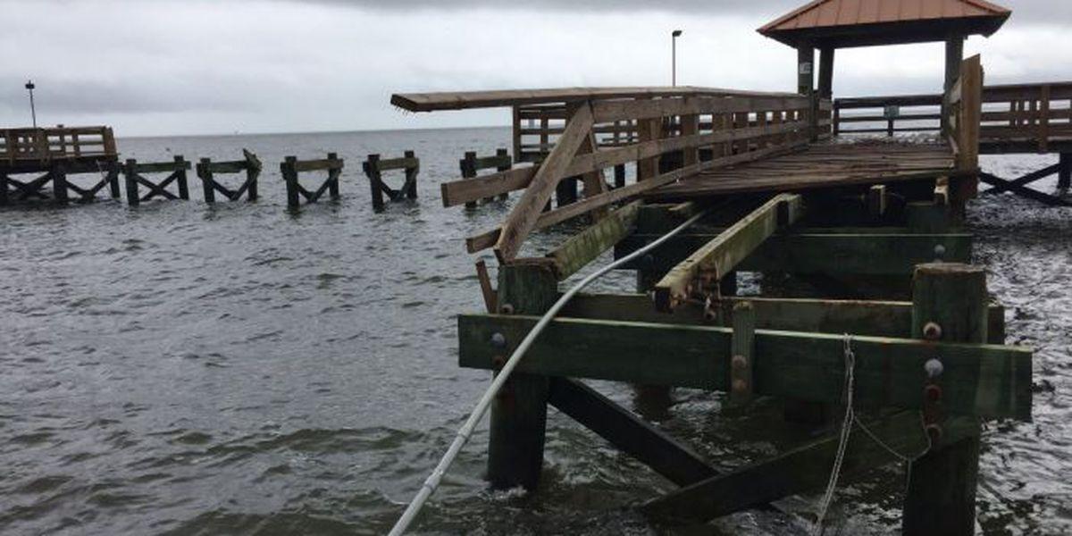 Pier and marina damaged at Gulfport Harbor