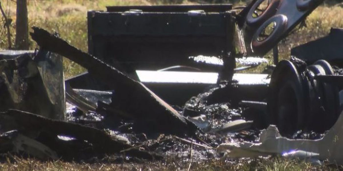 Unattended burn pile torches camper trailer in D'Iberville