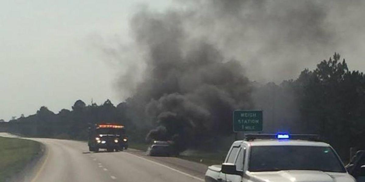 Driver escapes burning car on I-10