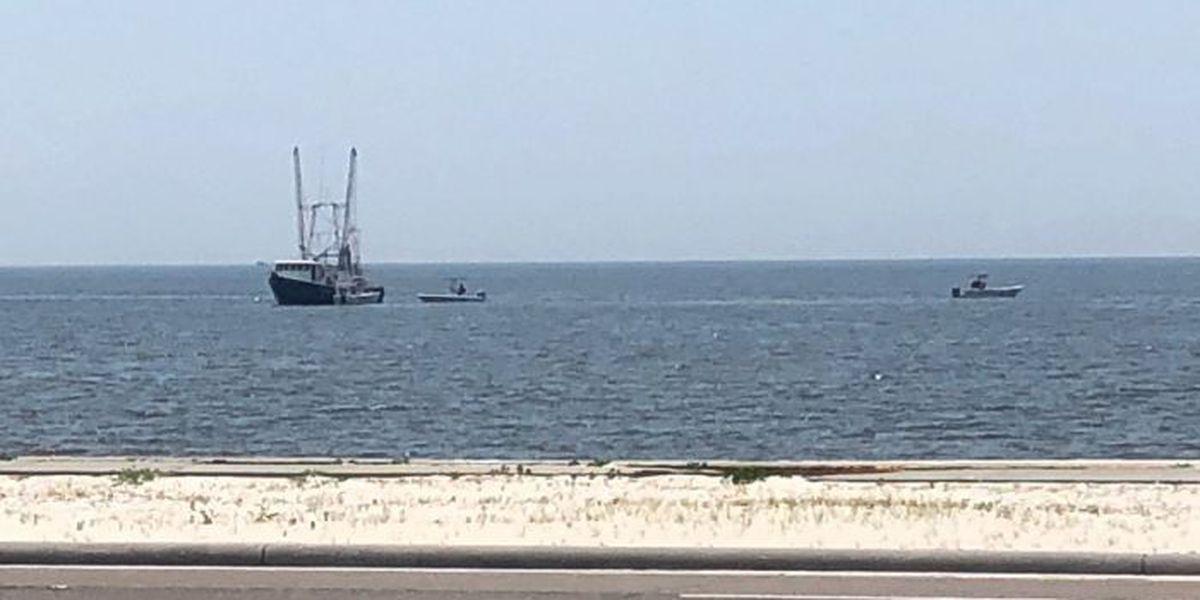 Marine Patrol aiding shrimp boat taking on water near Pass Christian