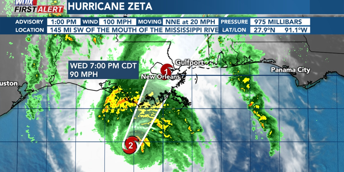 Zeta strengthens to a category two hurricane. Landfall is just hours away.