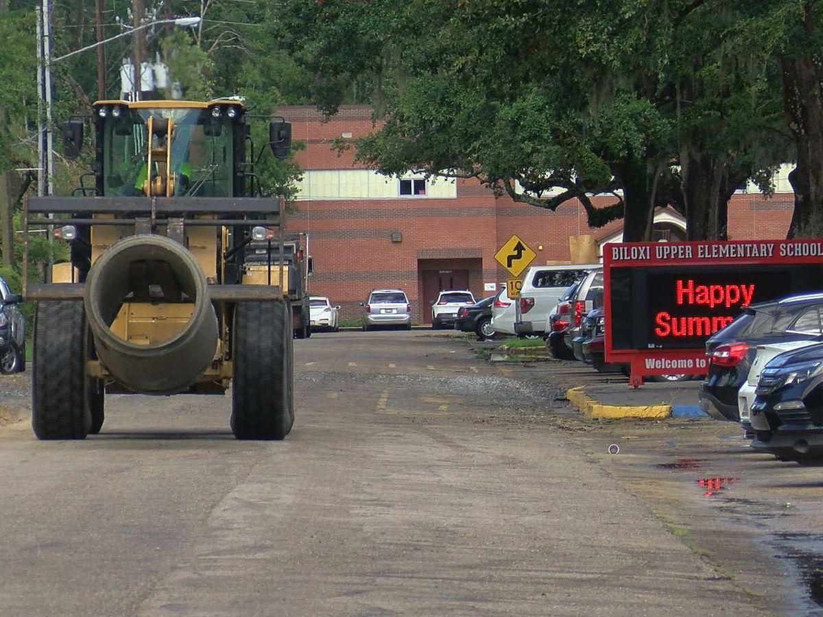 Road construction blocks entrance at Biloxi Upper Elementary