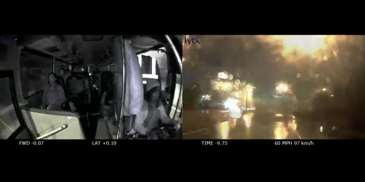 WATCH: Dramatic dash-cam video shows drunk Greyhound bus driver crash off side of interstate