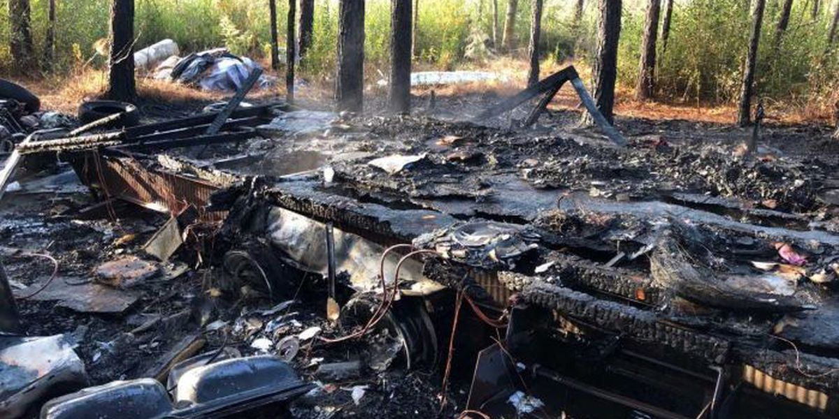 Camper trailer destroyed by fire in Vancleave