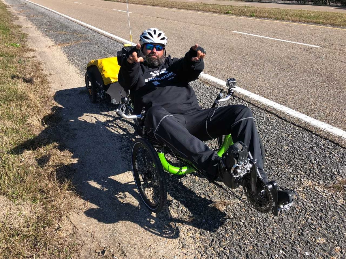 Big Jim rides through Jackson County on his journey to raise awareness for drug addiction