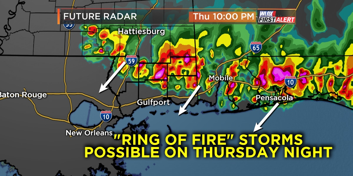 """""""Ring of fire"""" storms target Gulf Coast"""