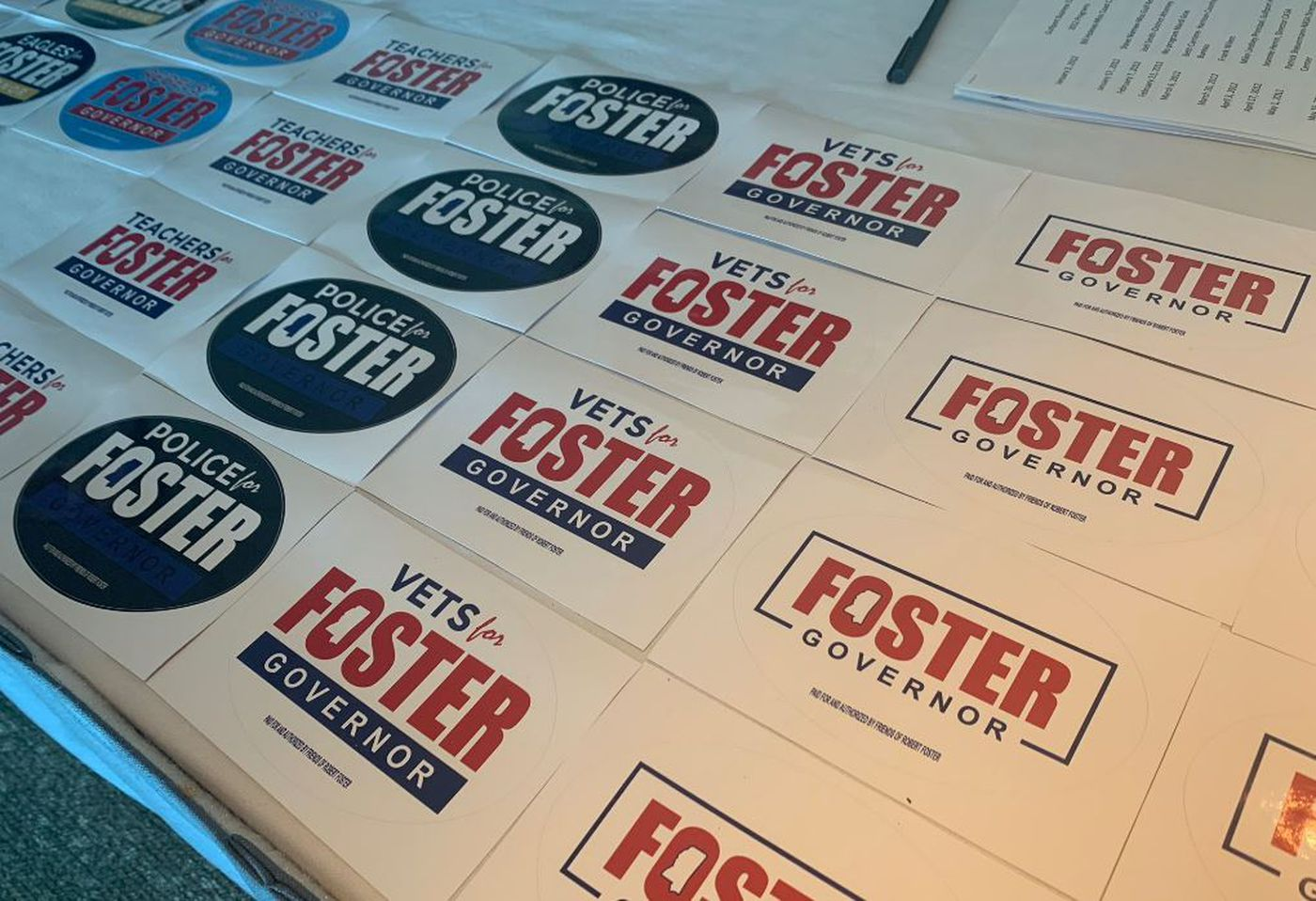 State Representative and gubernatorial Candidate Robert Foster's campaign stickers. (Photo Source: WLOX)