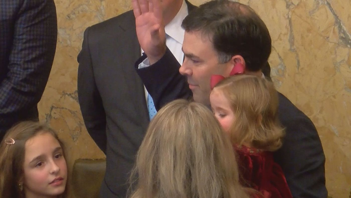 With his wife and three children by his side, Michael Watson became Mississippi's 36th Secretary of State on Thursday.